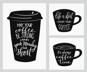 Quote lettering on coffee cup shape