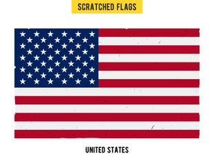 American grunge flag with little scratches on surface. A hand drawn scratched flag of United States with a easy grunge texture. Vector modern flat design
