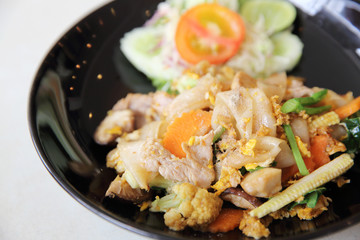 Thai food fried noodle with egg and pork