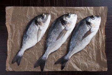 Raw bream fish on packing paper