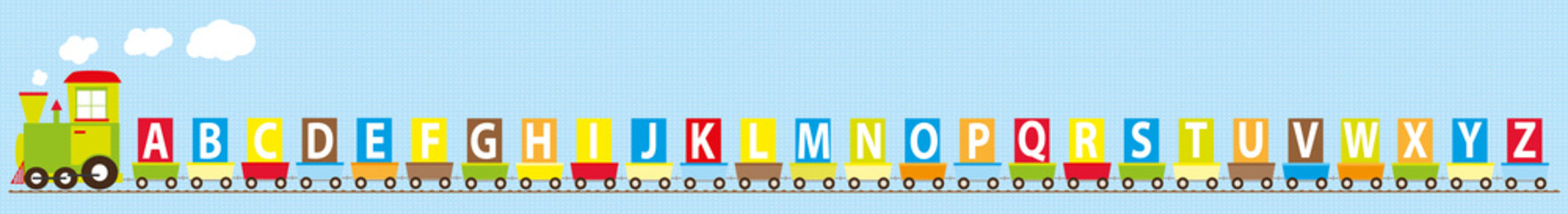 ABC learning train- educational vector illustration with English alphabet on colorful background