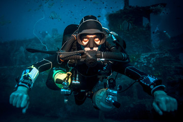 Underwater portrait of technical diver Lombok, Indonesia