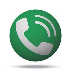 White Phone web icon on green sphere ball