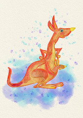 A kangaroo with a baby kangaroo. Watercolor illustration. Invitation card.