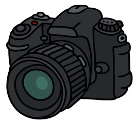 Photographic camera / Hand drawing, vector illustration