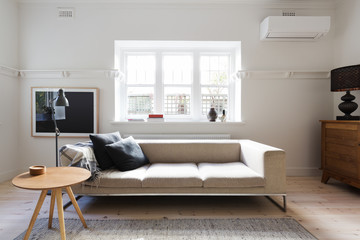 Beautifully styled interior living room of sofa and coffee table