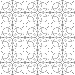 The complex geometric pattern. Seamless pattern of thin lines. Black and white monochrome ornament.