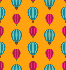 Old Seamless Travel Pattern of Air Colorful Balloons