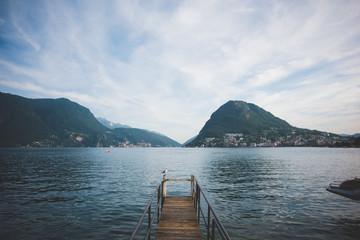 Wooden pier,  Lake Lugano, Switzerland
