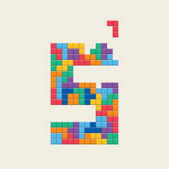"Logo number ""5"", video game pixel style. Editable vector design."