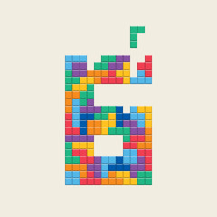 "Logo number ""6"", video game pixel style. Editable vector design."