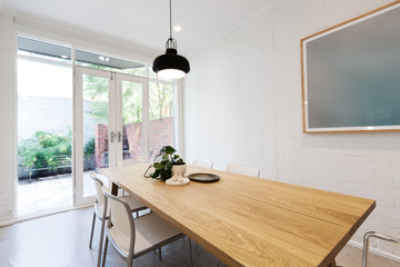 Contemporary renovated scandi styled interior dining room
