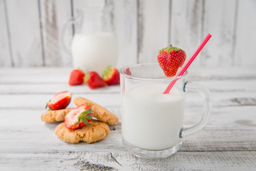 milk, strawberry and cookies