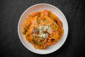 普通のナポリタン Spaghetti alla Napoletana Italian food