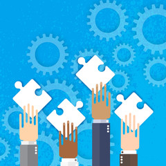 Hands together team work. Hands of different colors. Connecting puzzle elements. Make a puzzle. Mechanism system. Cogwheels. Promotion and advertising. Digital marketing. Business concept, matching.