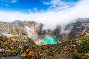 Irazu Volcano to the emerald lake in the crater. Central America. Costa Rica