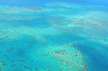 Aerial view of Oystaer coral reef at  the Great Barrier Reef Que