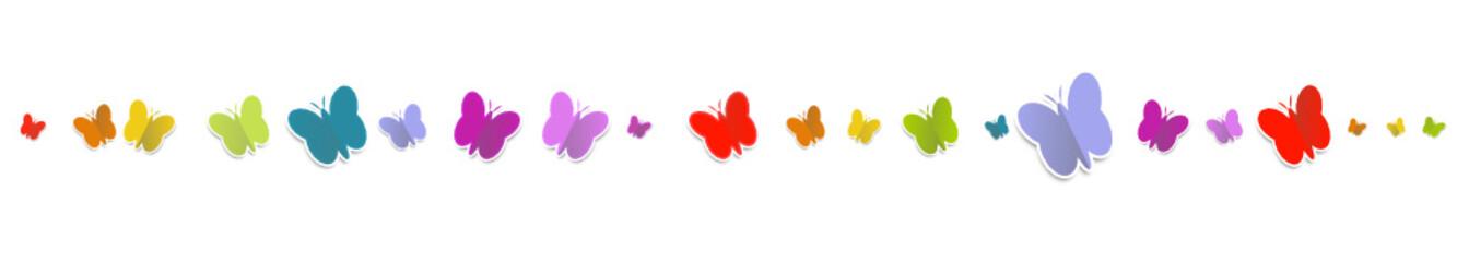 Schmetterlinge Regenbogen Bunt Reihe Banner Band