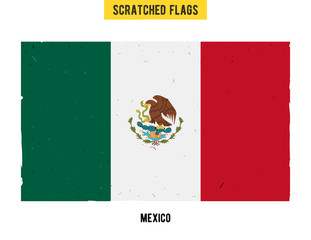 Mexican grunge flag with little scratches on surface. A hand drawn scratched flag of Mexico with a easy grunge texture. Vector modern flat design