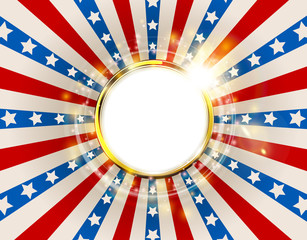 Patriotic background United States of America with sparks. USA flag color round frame. American Memorial Day and Independence Day golden ring concept vector design