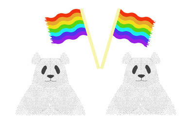 Pandas with gay flags