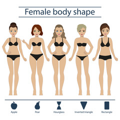 Set of five different types of female figures - hourglass, apple, pear, rectangle, inverted triangle. Vector.