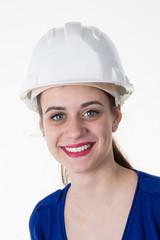 confident female architect isolated on white background