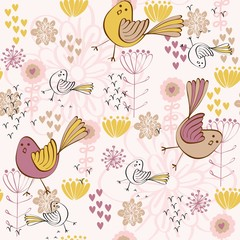 Vector Seamless pattern with cute  cartoon bird.