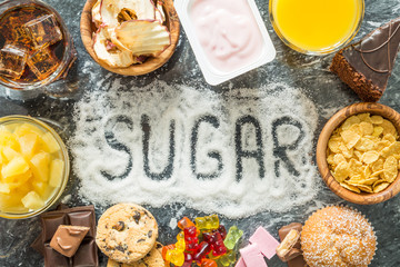 Selection of food high in sugar Wall mural