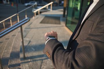 Smart watch on a hand of a businessman