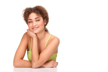 beautiful curly hair african girl smile portrait isolated on white