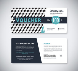 Abstract gift voucher template card. business voucher card templ