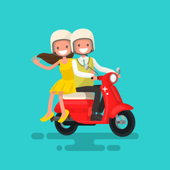 Photo sur Toile Motocyclette Guy with a girl riding on a motorcycle. Vector illustration