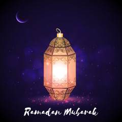 Glowing Traditional Lamp for Ramadan Mubarak.
