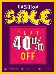Fashion Sale Poster, Sale Banner, Sale Flyer, Flat  40% Off.
