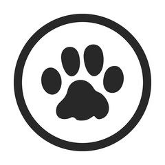 Pet cat paw print sign simple icon on background