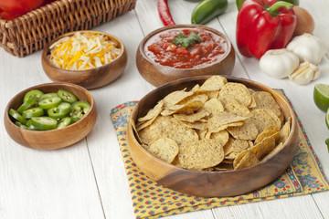 nachos and condiments