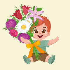 Vector illustraion greeting cart baby boy Happy Mothers Day
