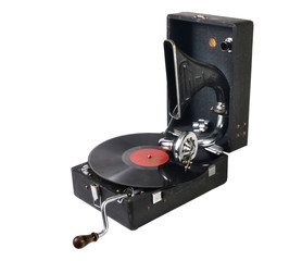 old gramophone with a gramophone record