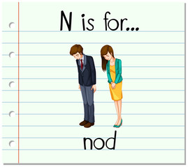 Flashcard letter N is for nod