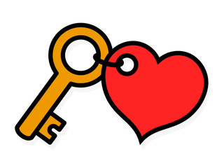 Small brass key with a red heart-shaped tag