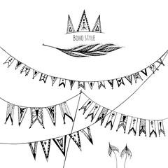 Set of ornamental boho style vintage garland. Vector illustration.