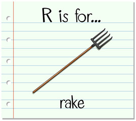 Flashcard alphabet R is for rake