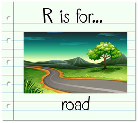 Flashcard alphabet R is for road