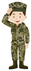 Female soldier in green uniform