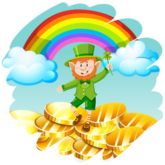 Leprechaun with golden coins and rainbow