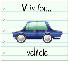 Flashcard letter V is for vehicle