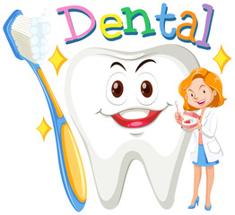 Female dentist with clean tooth