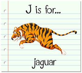 Flashcard letter J is for jaguar