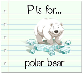 Flashcard letter P is for polar bear